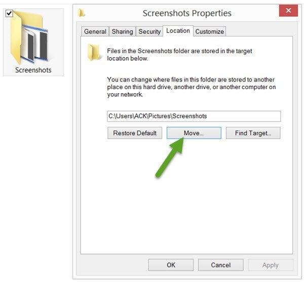 Cambiar la ubicación de la carpeta Imprimir pantalla en Windows 10/8/7 1