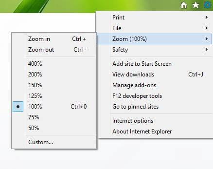 Establecer o cambiar el nivel de zoom en Internet Explorer 1