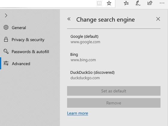 Cómo cambiar el motor de búsqueda predeterminado en Edge en Windows 10
