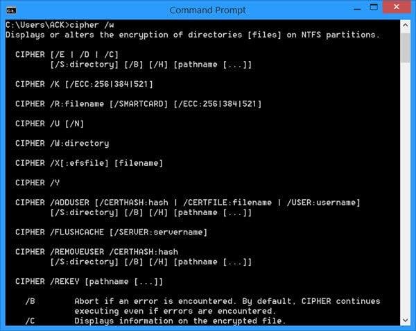 Herramienta de línea de comandos de cifrado en Windows 10/8/7