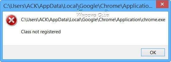 Corrección: Clase no registrada Chrome.exe en Windows 10/8