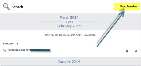 Eliminar o eliminar todo el historial de búsqueda de Facebook 4