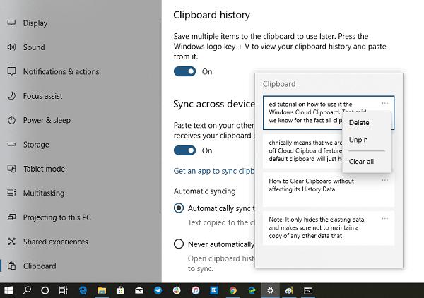 Cómo activar/desactivar y borrar el historial del portapapeles en Windows 10