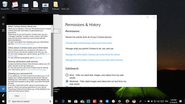 Eliminar y eliminar todos los datos personales de Cortana en Windows 10