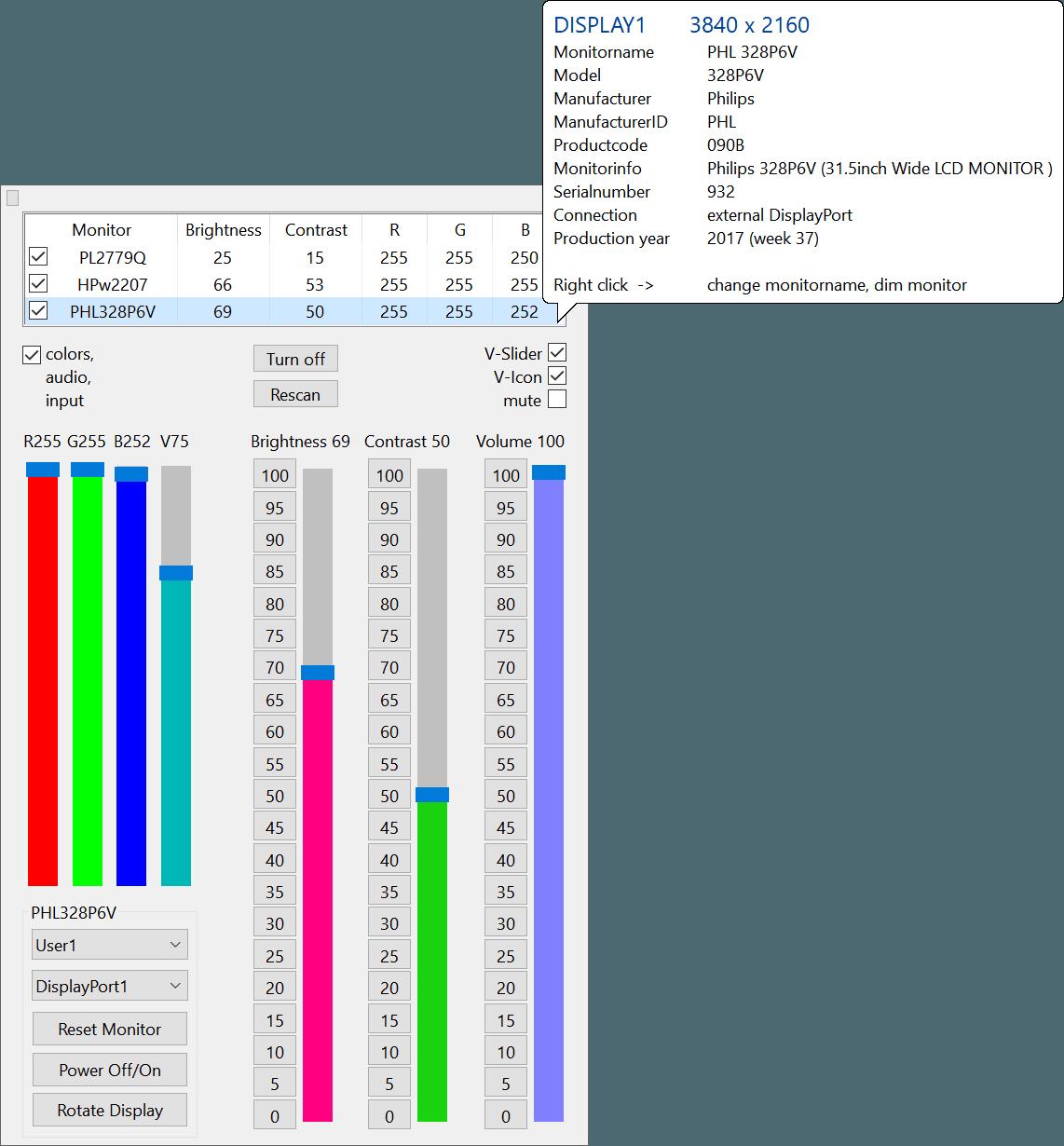 ClickMonitorDDC le permite ajustar fácilmente el brillo y el contraste del monitor 1