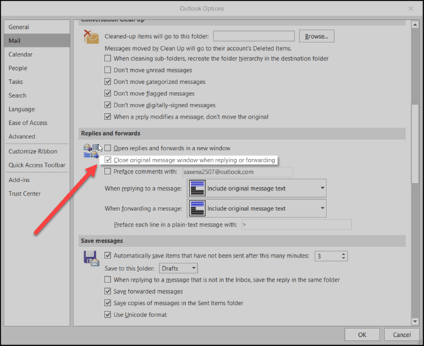 Cómo configurar Microsoft Outlook para que cierre un mensaje después de responder