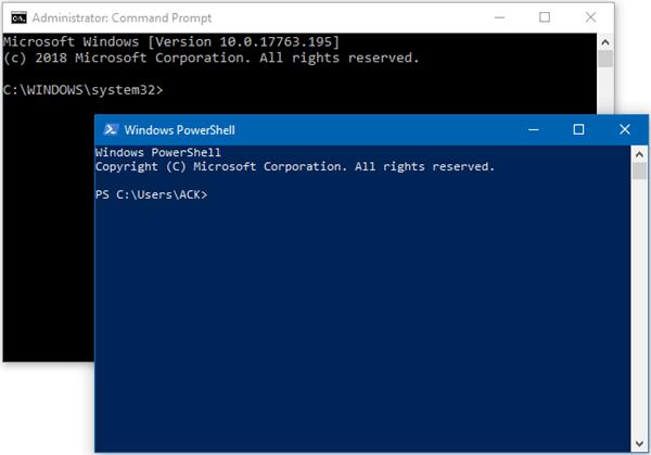 Diferencia entre el símbolo del sistema y Windows PowerShell