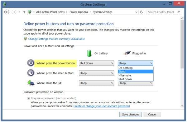 Cambiar lo que hace el botón de encendido cuando se pulsa en Windows 10/8/7