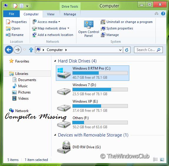 Cómo quitar el equipo del panel de navegación del Explorador de Windows