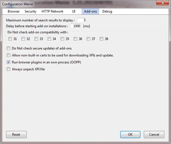 El complemento Configuration Mania Firefox ofrece ajustes avanzados