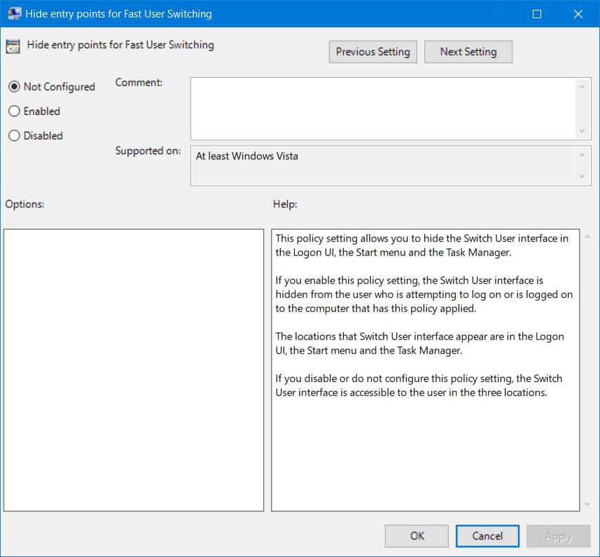 Cómo habilitar o deshabilitar el cambio rápido de usuario en Windows 10