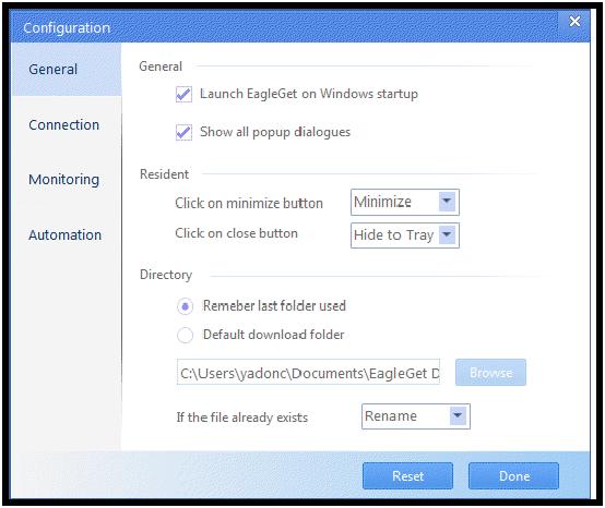 EagleGet: Administrador de descargas y acelerador universal gratuito para Windows