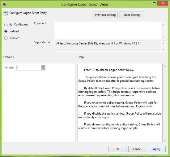 Cómo configurar el retardo del script de inicio de sesión en Windows 8.1