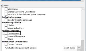 Impedir que Microsoft Word marque las contracciones como errores