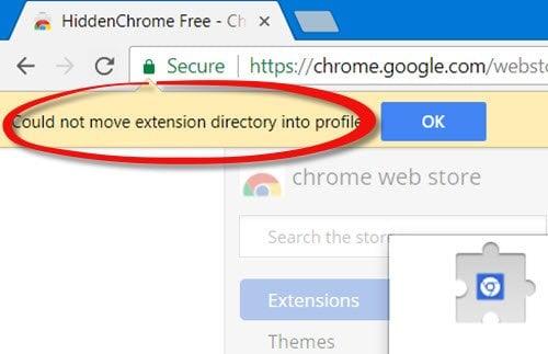 No se ha podido mover el directorio de extensiones al perfil - Error de cromo 1