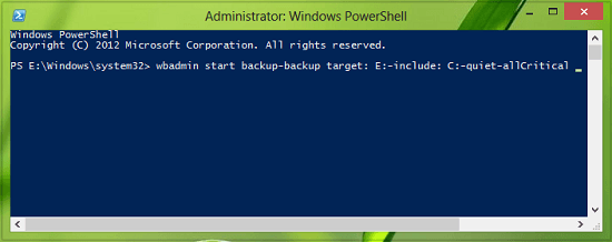 Crear una imagen del sistema en Windows 10 con PowerShell