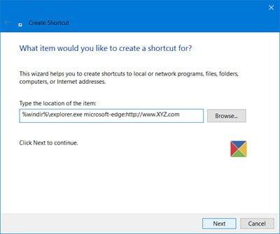 Crear un acceso directo a la página web mediante el explorador Edge en el escritorio de Windows 10