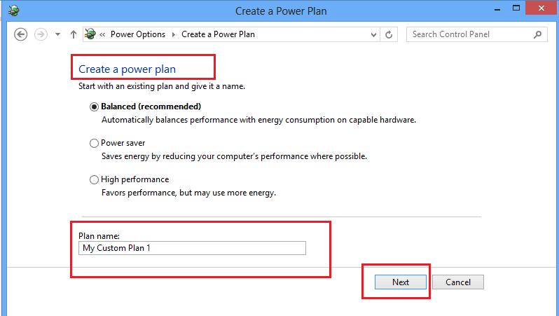Cambiar el plan de energía, la configuración y las opciones; crear planes de energía personalizados en Windows 10/8/7
