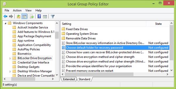 Cambiar la ubicación predeterminada para guardar la clave de recuperación de BitLocker 3