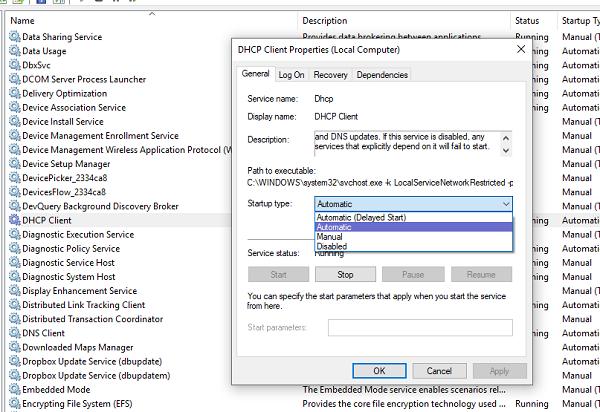 El servicio de atención al cliente DHCP proporciona un error de acceso denegado en Windows 10