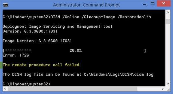 El uso de DISM en Windows 8.1 da el error de error de llamada al procedimiento remoto 1