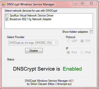 Cliente DNSCrypt para Windows: Cifrado de datos desde el ordenador al DNS
