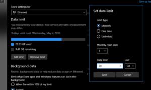 Cómo establecer el límite de datos para el adaptador inalámbrico y Ethernet en Windows 10