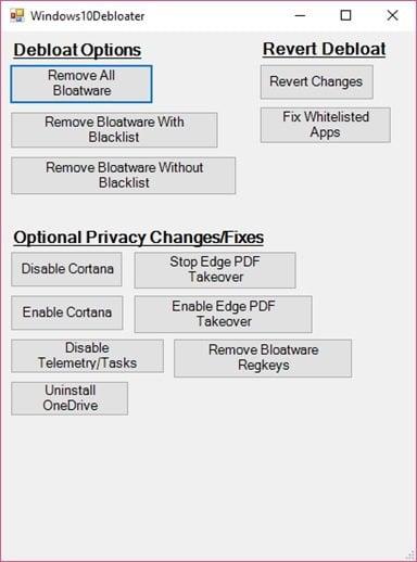 Eliminar el bloatware de Windows 10 con Windows10Debloater