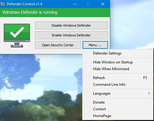 Desactivar Windows Defender de forma permanente en Windows 10 mediante Defender Control