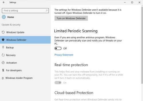 Función de exploración periódica limitada en Windows Defender en Windows 10 2