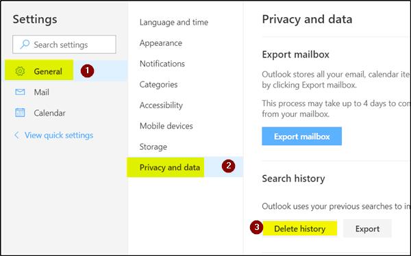 ¿Cómo se elimina el historial de búsquedas de Outlook.com?