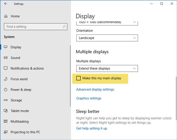 Iconos de escritorio movidos de Monitor principal a Monitor secundario en Windows 10