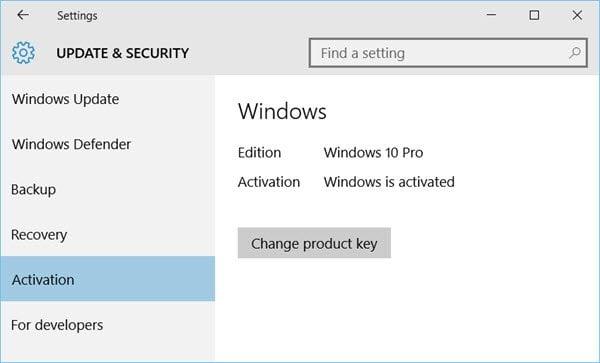 Métodos de activación de derechos digitales y claves de producto en Windows 10 1