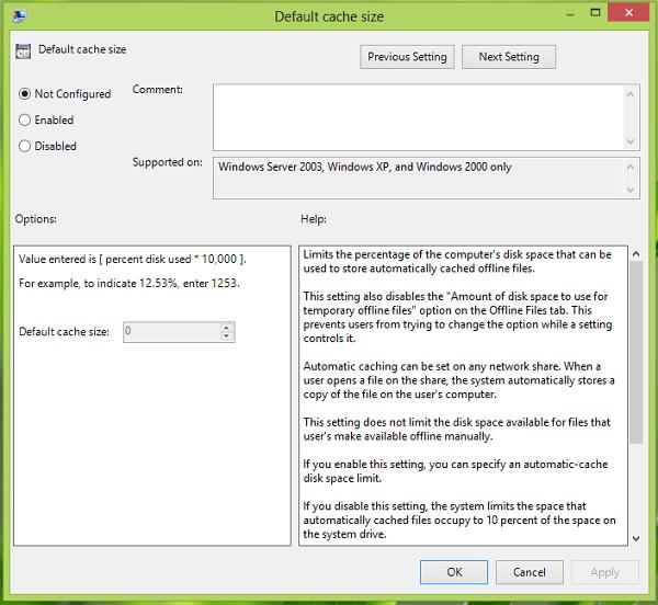 Configurar la cantidad de espacio en disco que se va a utilizar, para los archivos fuera de línea en Windows