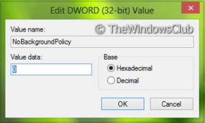 Desactivar el procesamiento en segundo plano de la Política del Registro en Windows 10/8/7