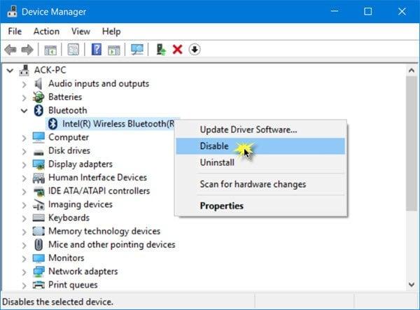 Cómo desactivar Bluetooth en Windows 10/8/7