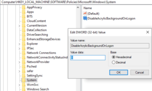 Cómo desactivar Fondo borroso en la pantalla de inicio de sesión en Windows 10
