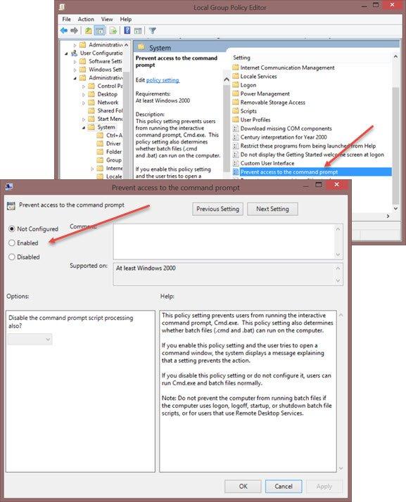 Habilitar, deshabilitar el símbolo del sistema mediante GPO o el Registro de Windows