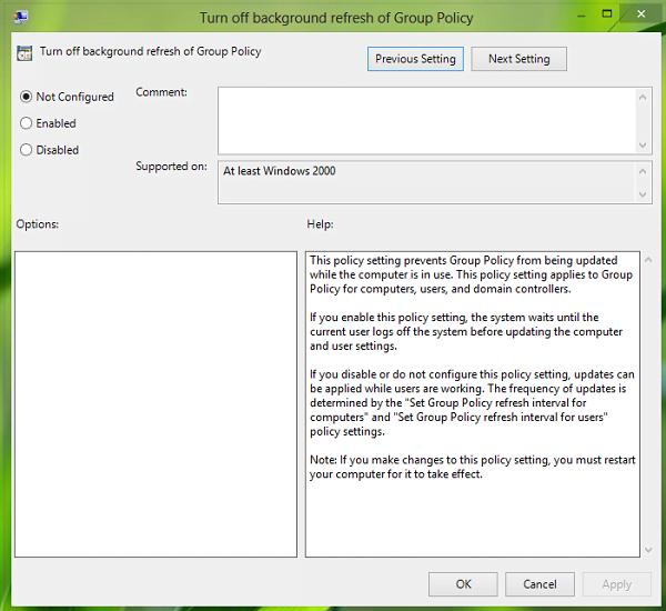 Cómo desactivar o desactivar la actualización de la directiva de grupo mientras el equipo está en uso 2