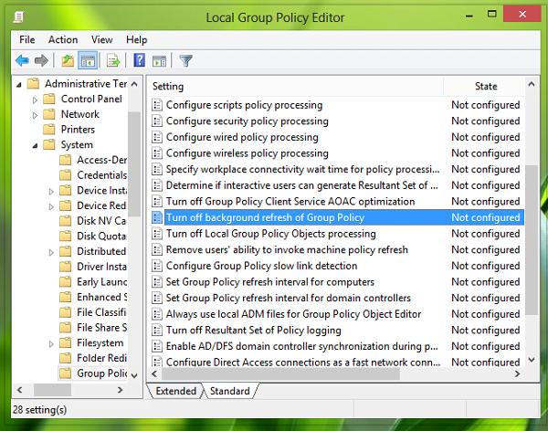 Cómo desactivar o desactivar la actualización de la directiva de grupo mientras el equipo está en uso 1