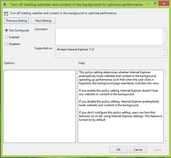 Habilitar, deshabilitar Cargar sitios y contenido en la política de fondo de Internet Explorer 11