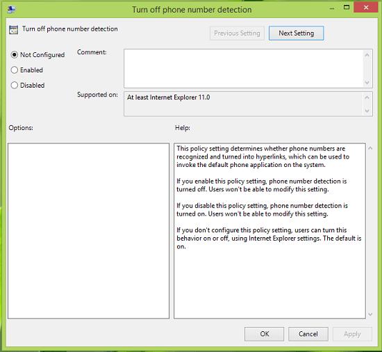 Cómo desactivar la detección de números de teléfono en Internet Explorer 11