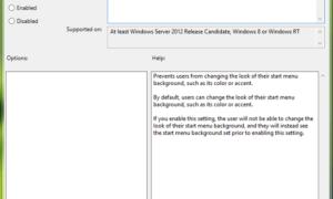 Cómo deshabilitar la opción de cambiar el fondo de la pantalla de inicio en Windows 8
