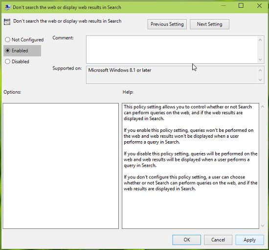 Desactivar por completo la búsqueda web en Windows 10 mediante la directiva de grupo