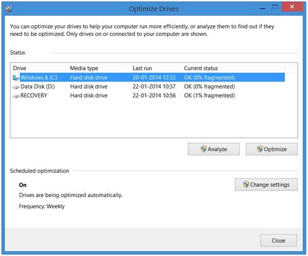 Explicación del Desfragmentador de disco en Windows 10/8/7 1