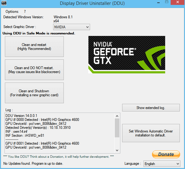NVIDIA GeForce Experience, Algo salió mal en Windows 10