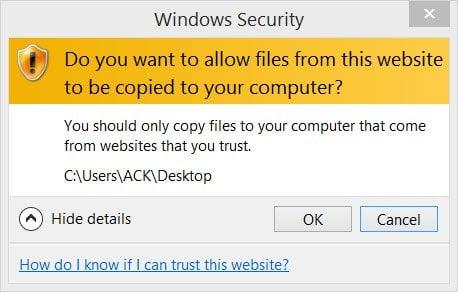 ¿Desea permitir que los archivos de este sitio web se copien a su ordenador? 1