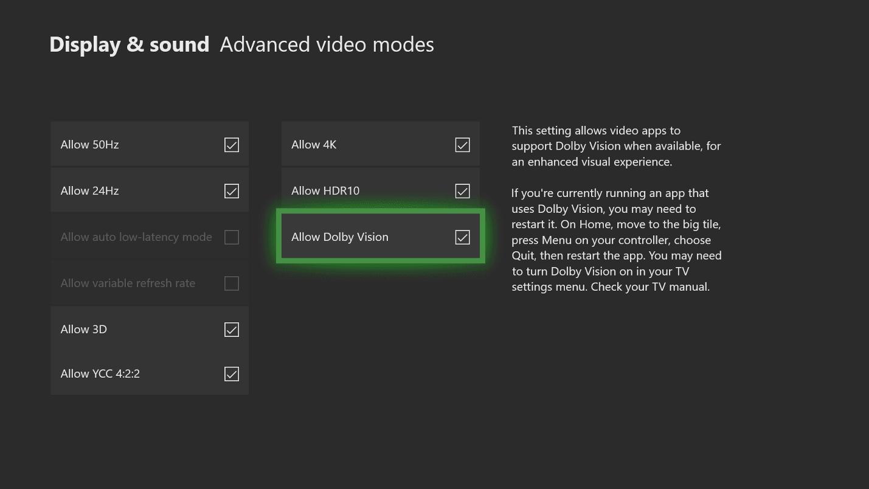 Cómo activar Dolby Vision en Xbox One 1