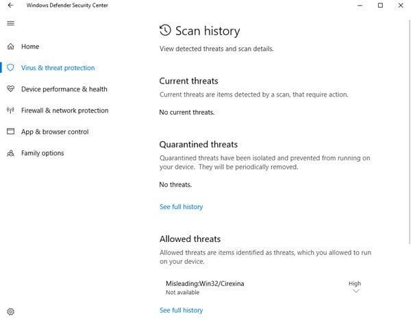 Descarga fallida - Mensaje de detección de virus en Windows 10