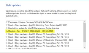 La actualización del controlador de Realtek sigue siendo ofrecida por Windows Update
